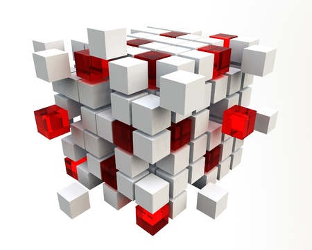 Abstract background of 3d blocks photo