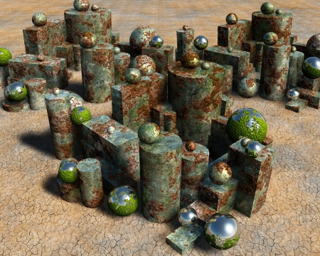 mildew: 3D rusted pieces Stock Photo