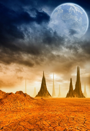 desert storm: 3D Fantasy landscape Stock Photo