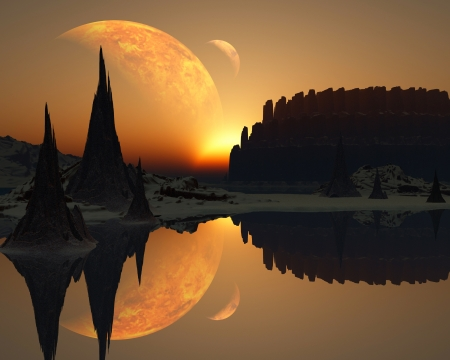 3D Fantasy landscape Stok Fotoğraf