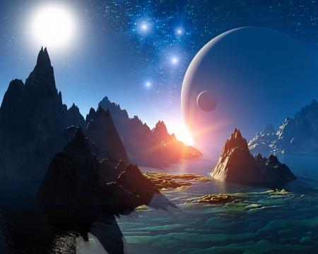 astronomie: 3D Fantasy Landschaft Lizenzfreie Bilder