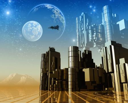 3D Fantasy landscape Stock Photo