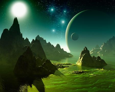 fantasy world: 3D Fantasy landscape Stock Photo