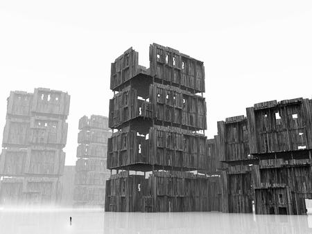 demolished: Gloomy apocalypse landscape