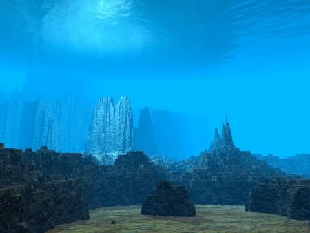 3 D の海の底 写真素材