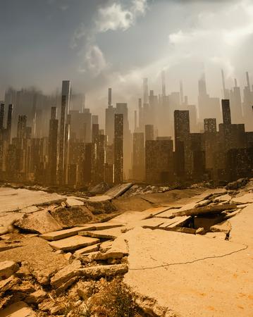 市内での地震 写真素材