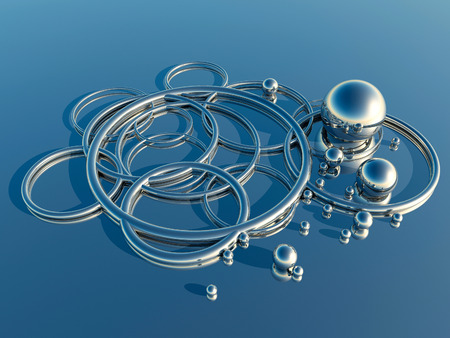 shiny argent: Abstract metal shapes Stock Photo