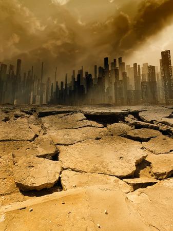 地震町イラスト 写真素材