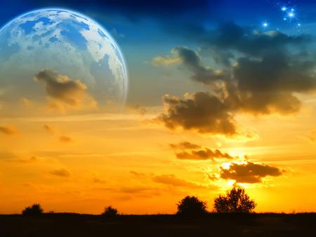 man looking at sky: Fantasy landscape