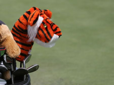 ゴルフ クラブやタイガー カバー 写真素材