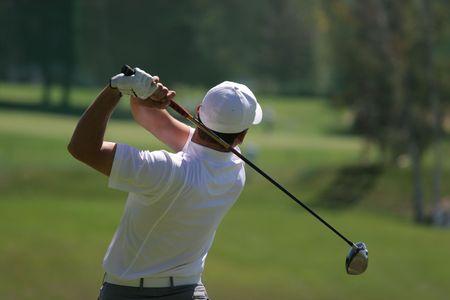 columpios: swing de golf en Crans-Montana, Suiza  Foto de archivo