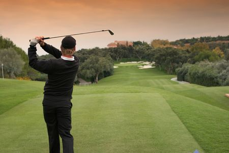 golf swing in valderrama, spain Stock Photo