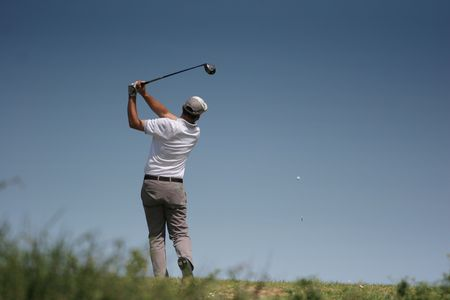 golf swing in valderrama Stock Photo