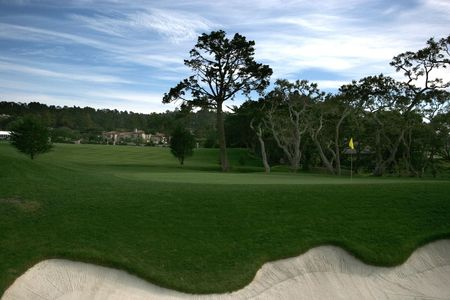 Pebble beach golf, hole 16, california Stock Photo