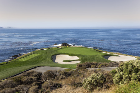 monterey: A view of hole 7 at Pebble Beach golf links, Monterey, California, USA