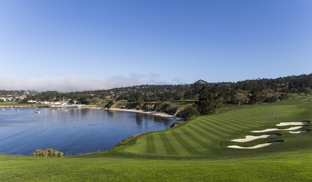 A view of hole 7 at Pebble Beach golf links, Monterey, California, USA Stock fotó - 37101996