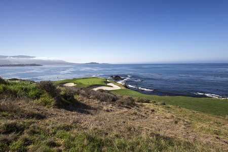 golf of california: A view of Pebble Beach golf  course, Monterey, California, USA