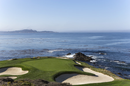Een zicht op Pebble Beach golfbaan, Monterey, Californië, Verenigde Staten Stockfoto