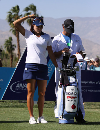 a mirage: RANCHO MIRAGE, CALIFORNIA - APRIL 02, 2015: Lexi Thompson of USA at the ANA inspiration golf tournament on the LPGA Tour, April 02, 2015 at The Mission Hills Country Club, Rancho Mirage, California Editorial