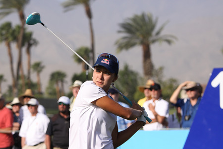 golf of california: RANCHO MIRAGE, CALIFORNIA - APRIL 02, 2015: Lexi Thompson of USA at the ANA inspiration golf tournament on the LPGA Tour, April 02, 2015 at The Mission Hills Country Club, Rancho Mirage, California Editorial