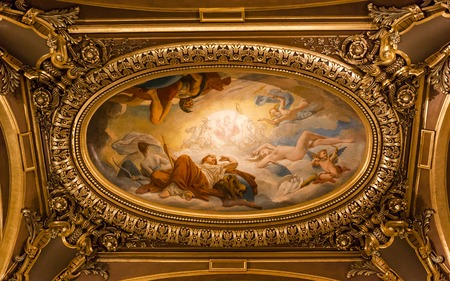 palais garnier: PARIS DECEMBER 22 An interior view of Palais Garnier Opera House in Paris is shown on DECEMBER 22 2012 in Paris. It was built from 1861 to 1875 for the Paris Opera house. Editorial