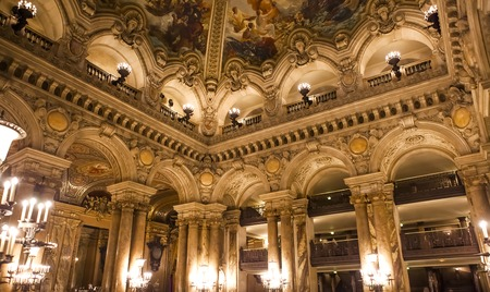 garnier: PARIS DECEMBER 22 An interior view of Palais Garnier Opera House in Paris is shown on DECEMBER 22 2012 in Paris. It was built from 1861 to 1875 for the Paris Opera house. Editorial