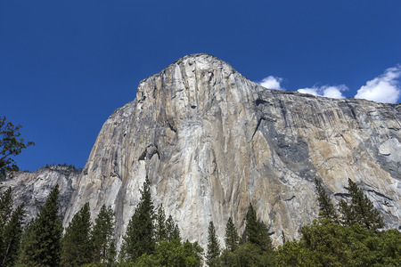 World famous rock climbing wall of El Capitan, Yosemite national park, California, usa