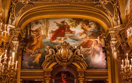 palais garnier: PARIS  DECEMBER 22 , An interior view of Opera de Paris, Palais Garnier, is shown on DECEMBER 22, 2012 in Paris. It was built from 1861 to 1875 for the Paris Opera house. Editorial