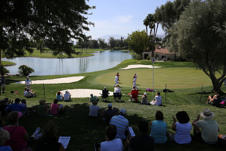 RANCHO MIRAGE, CALIFORNIA - APRIL 02, 2015: View of golf course at the ANA inspiration golf tournament on the LPGA Tour, April 02, 2015, Rancho Mirage golf course, California, USA.