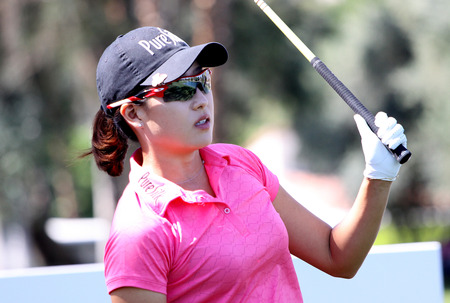 jennifer: Rancho Mirage California april February 2015 jennifer song of united states in the first round of tournament lpga ana turn inspiration in Mission Hills Country Club rancho mirage california united states