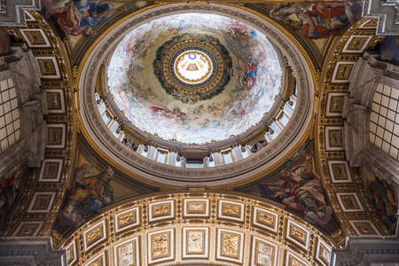 st  peter's basilica pope: VATICAN CITY VATICAN JUNE 15 2015: interiors and architectural details of Basilica of St. Peter 15 june 2015 in Vatican city Vatican
