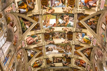 architectural interiors: VATICAN CITY, VATICAN, JUNE 12, 2015 : interiors and architectural details of the Sistine chapel, june 12, 2015, in Vatican city, Vatican Editorial