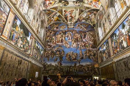 VATICAN CITY, VATICAN, JUNE 15, 2015 : interiors and architectural details of the Sistine chapel, june 15, 2015, in Vatican city, Vatican