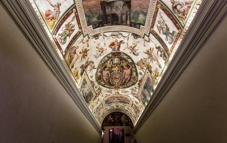 architectural interiors: VATICAN CITY, VATICAN, JUNE 12, 2015 : interiors and architectural details of Raphael rooms in Vatican museum, june 12, 2015, in Vatican city, Vatican Editorial