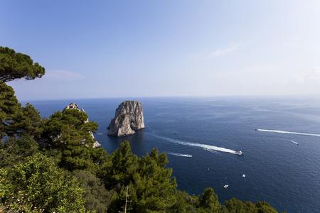 capri: panorama of Faraglioni island and cliffs, Capri, Italy