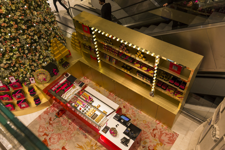 lafayette: PARIS, FRANCE, DECEMBER 14, 2015 : christmas decorations at Galeries Lafayette store, december 14, 2015 in Paris, France