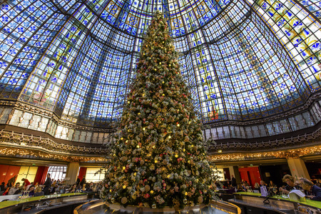 PARIS, FRANCE, DECEMBER 14, 2015 : christmas decorations at Galeries Lafayette store, december 14, 2015 in Paris, France