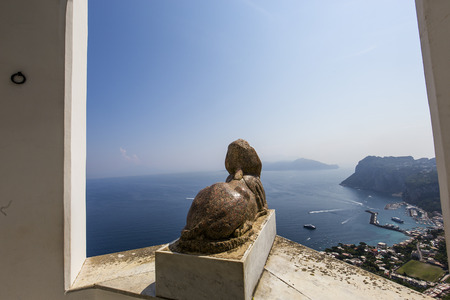 sphinx: panorama from Sphinx statue over Capri island, Capri, Italy
