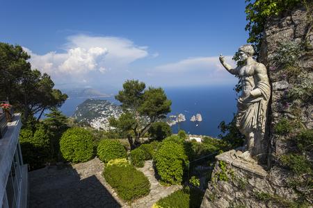 monte: panorama of Capri island from Monte Solaro, in Anacapri, june 10, 2015, in Anacapri, Capri, Italy