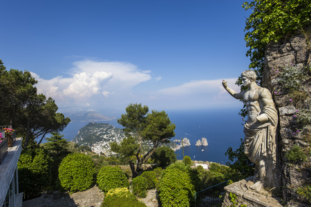 panorama of Capri island from Monte Solaro, in Anacapri, june 10, 2015, in Anacapri, Capri, Italy