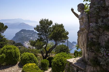capri: panorama of Capri island from Monte Solaro, in Anacapri, june 10, 2015, in Anacapri, Capri, Italy