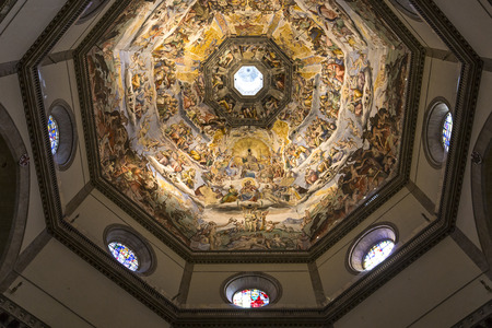 architectural interiors: FLORENCE, ITALY, OCTOBER 24, 2015 : interiors and architectural details of cathedral Santa Maria del fiore, october 24, 2015 in Florence, Italy