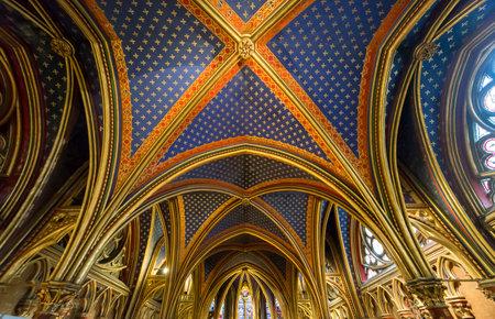 ile de la cite: Paris, France November 03 th, 2013 : Interiors and architectural details of the medieval church Sainte Chapelle, built 1239,  in ile de la cite, Paris, France. Editorial