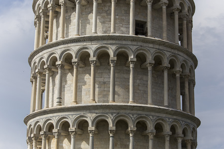 PISA, ITALY, june 08, 2016 : Architectural details of the Tower of Pisa, on june 08, 2016 in Pisa, italy