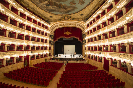 NAPLES, ITALY , MAY 16, 2014, Tribute to Giuseppe Verdi at the Teatro di San Carlo, Naples opera house, May 16, 2014,  in  Naples, Italy.