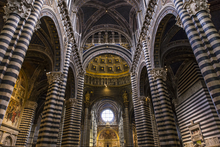 SIENA, ITALY, JUNE 11, 2016 : interiors and architectural details of the duomo, Siena cathedral, june 11, 2016 in Siena, Italy