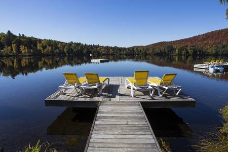 view of the Lac-Superieur, in Laurentides, Mont-tremblant, Quebec, Canada Stock Photo