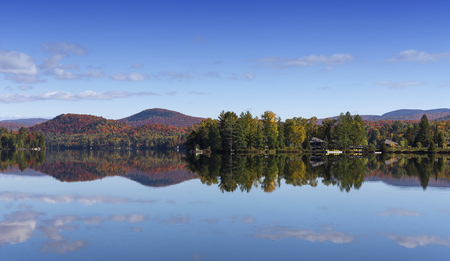 view of the Lac-Superieur, in Laurentides, Mont-tremblant, Quebec, Canada, during indian summer