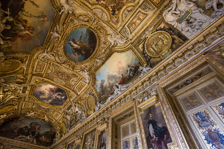 antics: PARIS, FRANCE, MARCH 09, 2017 : architectural details of gallery of Apollon, the Louvre, march 09, 2017, in Paris, France