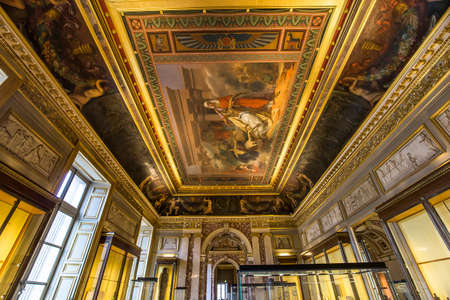 antics: PARIS, FRANCE, MARCH 09, 2017 : architectural details of the Sully wing, the Louvre, march 09, 2017, in Paris, France